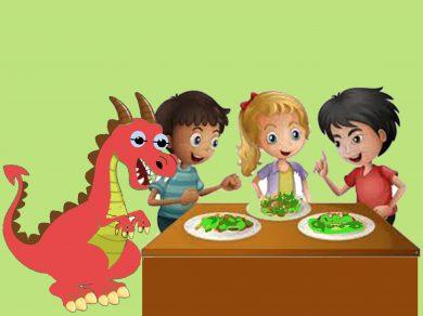 El dragón rosa y las verduras