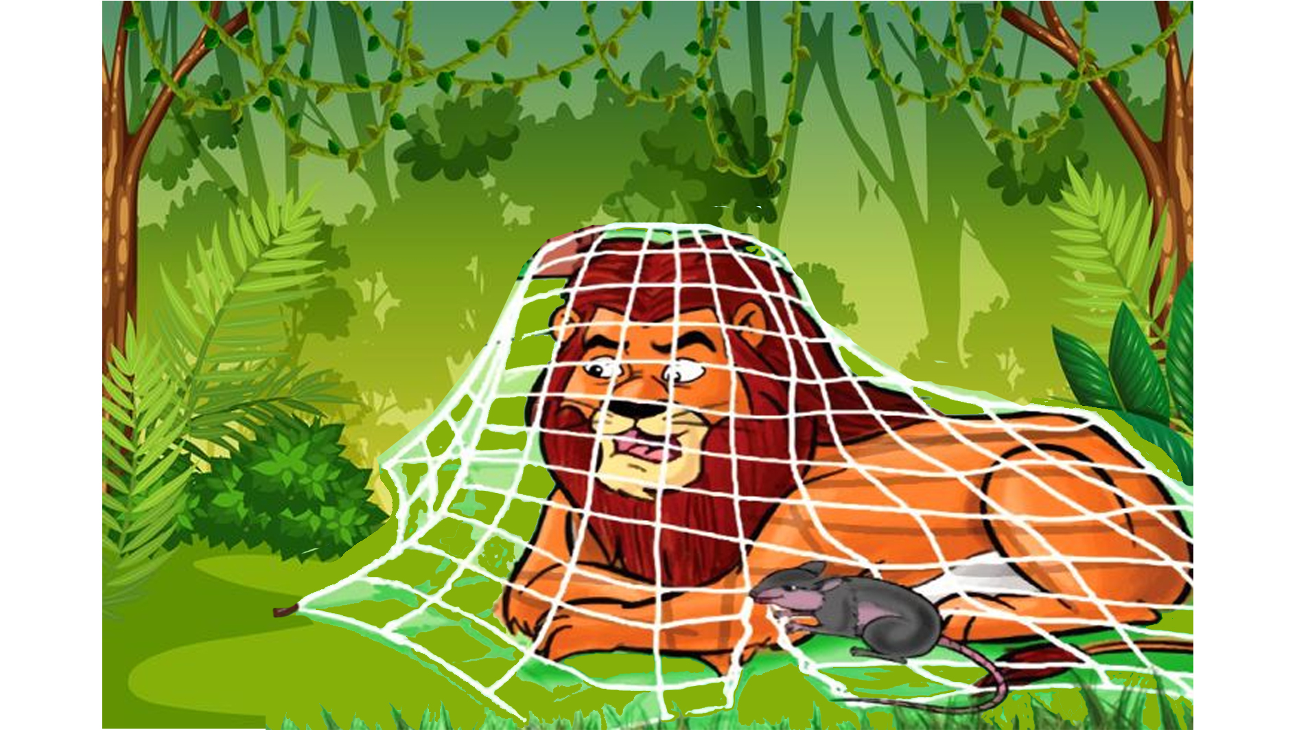 león atrapado en red