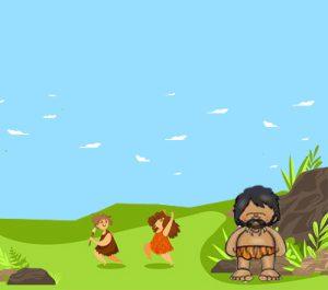 Corre, corre que te pillo, niños en la era primitiva jugando.