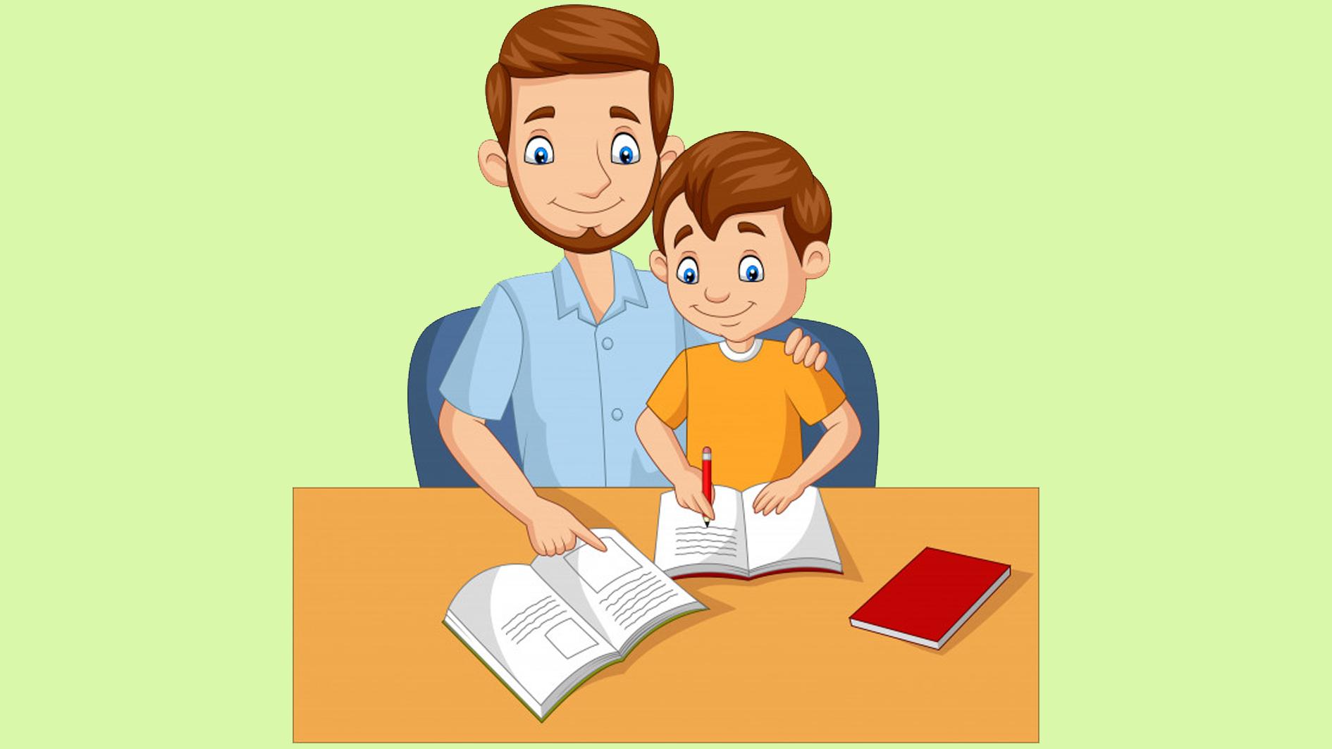 padre y niño escribiendo