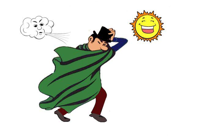 El viento y el sol - hombre con capa