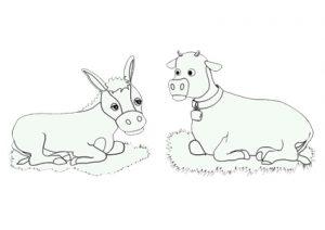 La mula y el buey para colorear
