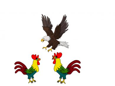 El águila y los gallos, por Belencribs